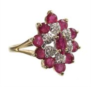 ring, yelow gold 585/000, 6 pieces 8/8 diamonds white, white set, 11 rubies (faceted), ring width c.