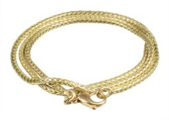 chain, yelow gold 750/000, foxtail chain (circular, diameter = 2.4 mm), with carabines, lenght =