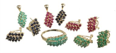 lot: yelow gold 585/000, various jewelry paved with rubies, sapphires and emeralds (faceted), a