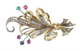 brooch, stylized cornucopia, yelow gold/white gold 585/000, 11 brilliants c. 0.30 ct tw-vsi/si, 17