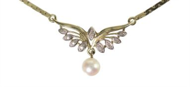 necklace, yelow gold 585/000, hanging Akoya pearl , 9 pieces octagonal diamonds white, small box
