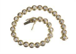 tennis bracelet, yelow gold 750/000, 30 brilliants c. 2,7 ct tw-vsi (rather better), white set,