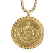 coin pendant, yelow gold 750/000, 2 1/2 Pahlavi Persia Iran, diameter = 37.1 mm, foxtail chain,