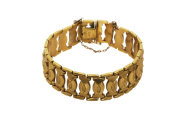 A Constantinople handmade gold bracelet with stamps. Approx: 28 gr