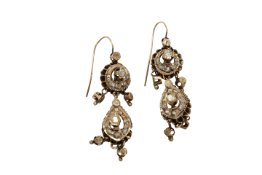 A pair of late 19th century Constantinople gold earrings with diamonds. Approx: 11 gr