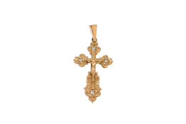 An early 20th century gold Russian Orthodox Cross with 4 diamonds. Inscribed on the verso in Russian