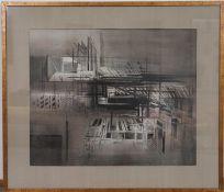 """""""Compositie"""" de Roger Dudant (1929-1991)Artiste peintre belgeAquarelle sur papier, encadrée.Signé et"""