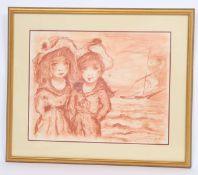 """Enfants au voilierSanguine originale au fusain.Signé """"Etienne"""" et daté 1923 en bas à droite.Epoque"""