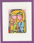 Kohn Edgar (né en 1970)Artiste peintre luxembourgeoisLithographie polychrome encadrée.Signé en bas à