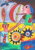 Jaber El Mahjoub (né en 1938)Artiste autodidacte Français (d'origine Tunisienne)Huile sur toile.