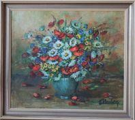 Nature morte de Lily Unden (1908-1989)Artiste peintre luxembourgeoiseHuile sur toile encadrée,