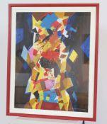 Mett Hoffmann (1914-1993)Artiste peintre luxembourgeoisGouache sur papier encadrée, sujet abstrait.