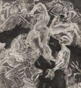 LithographieLithographie monochrome représentant des silhouettes.Artiste inconnu.Epoque XXème