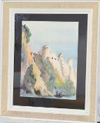 Mars Schmit (1931-1990)Artiste peintre luxembourgeoisAquarelle encadrée, vue des remparts du