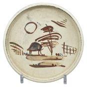 A Japanese Seto Ware Andon-Zara Dish - Meiji Period