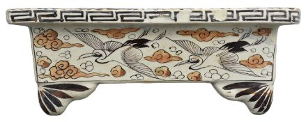 A Japanese Glazed Stoneware Vessel with Bird Decoration, 19th Century