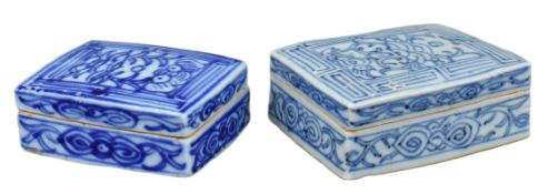 Two Chinese Blue & White Inscribed Porcelain Boxes – 19th / Early 20th Century