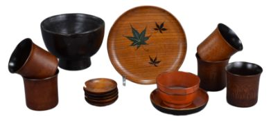 A Group of Various Japanese Lacquered Wood Vessels & Bamboo Wine Cups