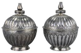 A Fine Pair of Chinese Straits Silver Covered Boxes 19th Century, H.G.Beasley Collection