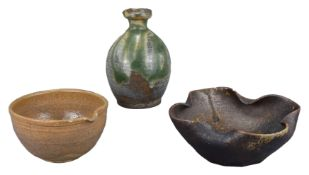 A Japanese Stoneware Bottle & Two Bowls, 18th / 19th Century & Later