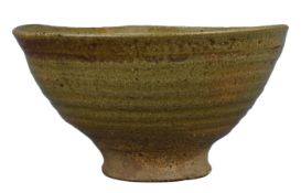 A Japanese or Korean Glazed Stoneware Bowl of Conical Form, 19th Century