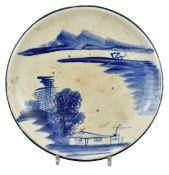 A Rare Large Japanese Blue & White Seto Stoneware Dish - Meiji Period