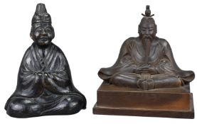 A Japanese Finely-Carved Wooden Figure of Seated Tenjin – Edo period
