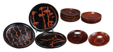 18 Japanese Lacquered Wood Dishes (3 Sets)