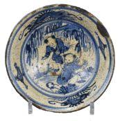 A Rare Japanese 19th century Blue & White Signed Stoneware Bowl – Boys Pattern