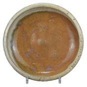 A Large Japanese Seto Ware Stoneware Dish - Edo Period