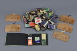 Five Japanese Wooden Postcards, sixty-five Matchboxes, Album of Labels (1950s)