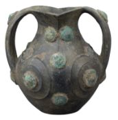 A Chinese Han Dynasty Black Pottery Amphora with Bronze Appliqués