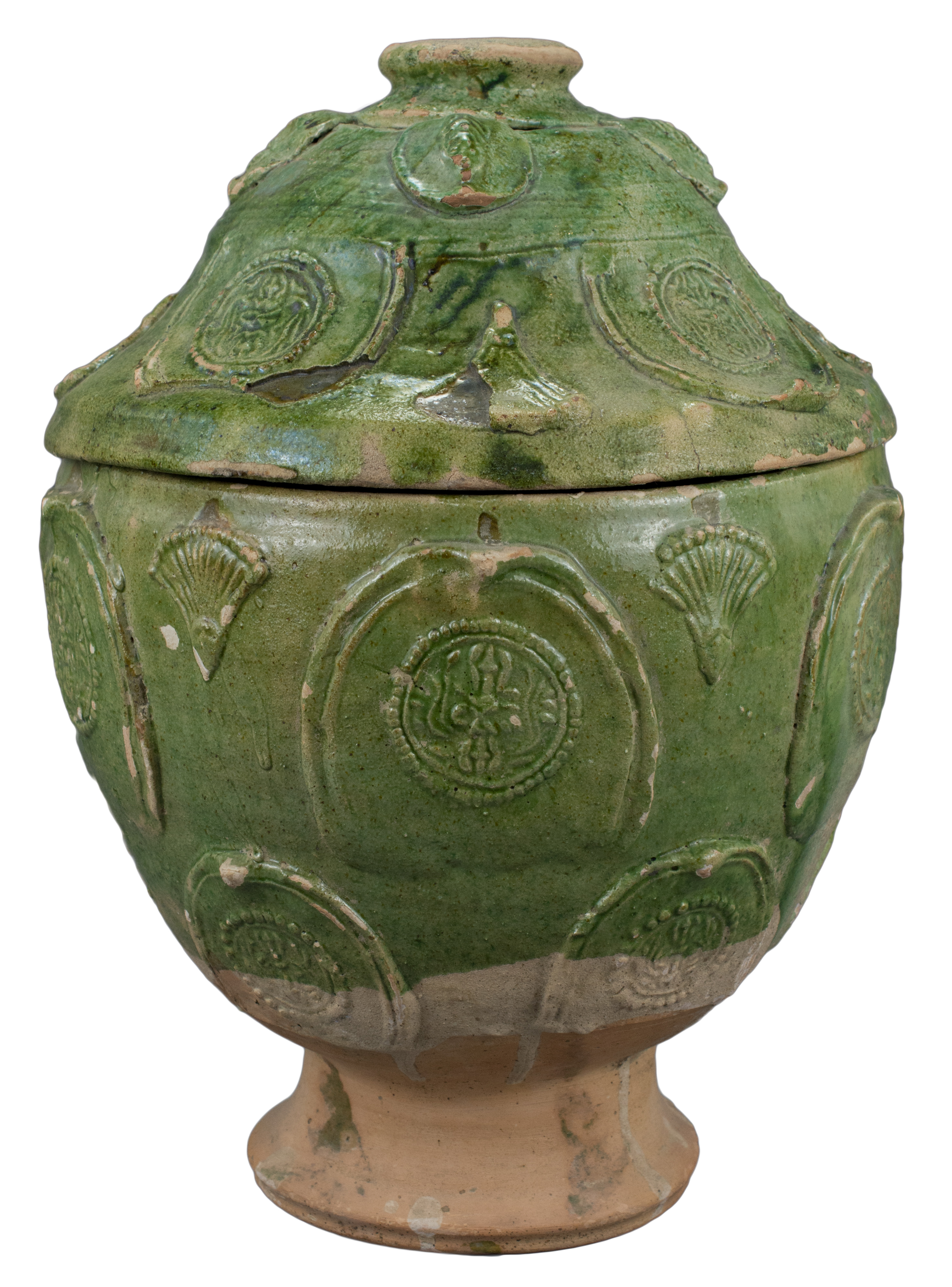 Lot 38 - A Large Chinese Song / Yuan Dynasty Glazed Buddhist Jar with Sanskrit Inscription