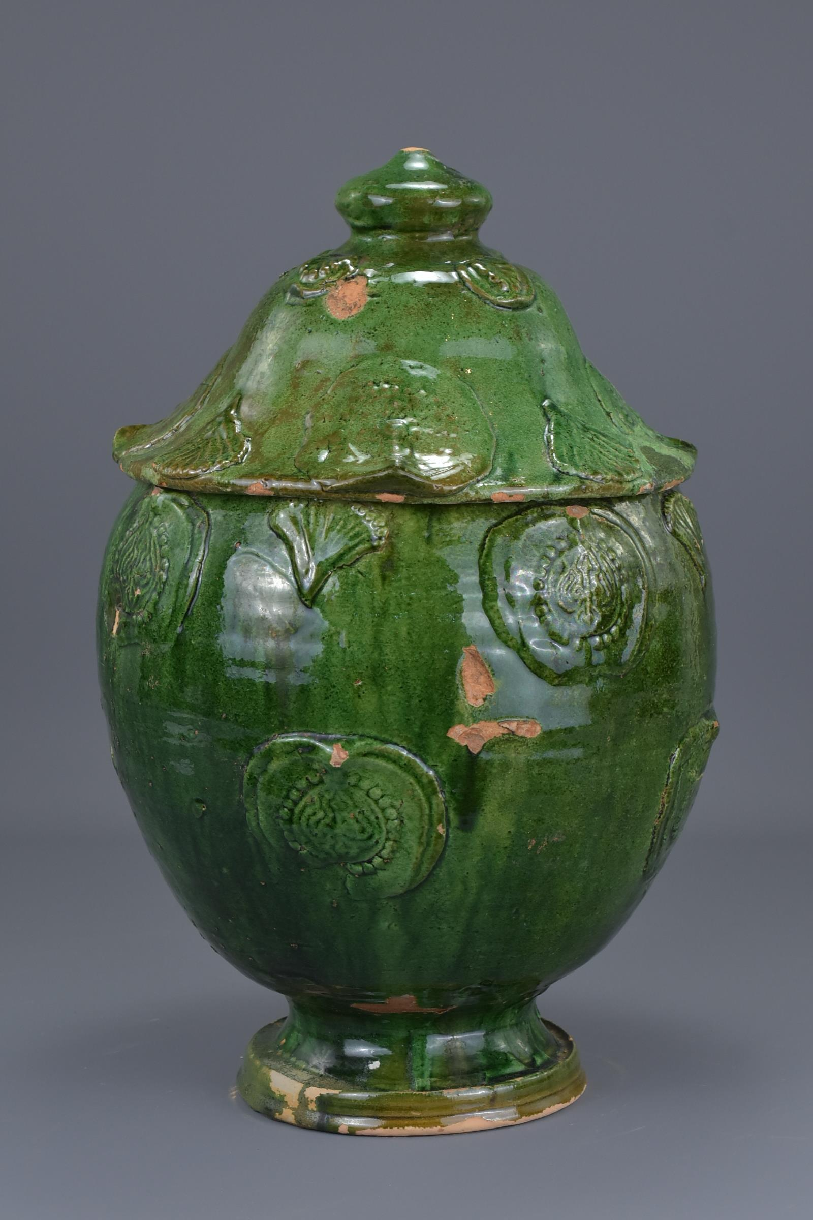 Lot 37 - A Fine Large Chinese Song / Yuan Dynasty Glazed Buddhist Jar