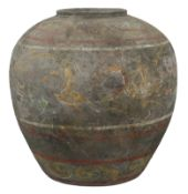 A Large & Rare Chinese Han Dynasty Painted Pottery Jar with Oxford TL Test