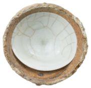A Fine Chinese Song Dynasty Qingbai Porcelain Dish in Kiln Saggar