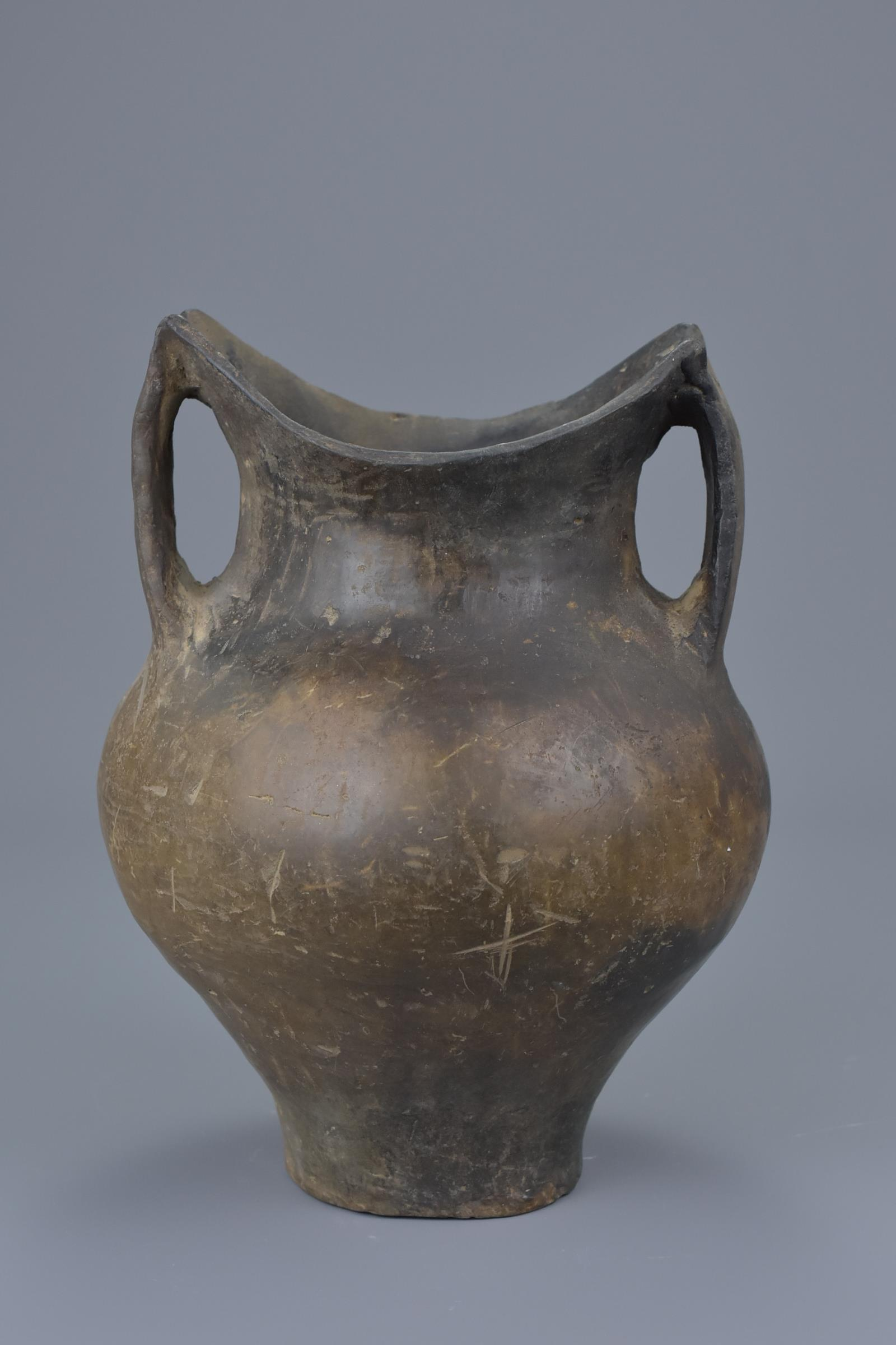Lot 49 - A Rare Chinese Neolithic Black Pottery Jar – Siwa Culture