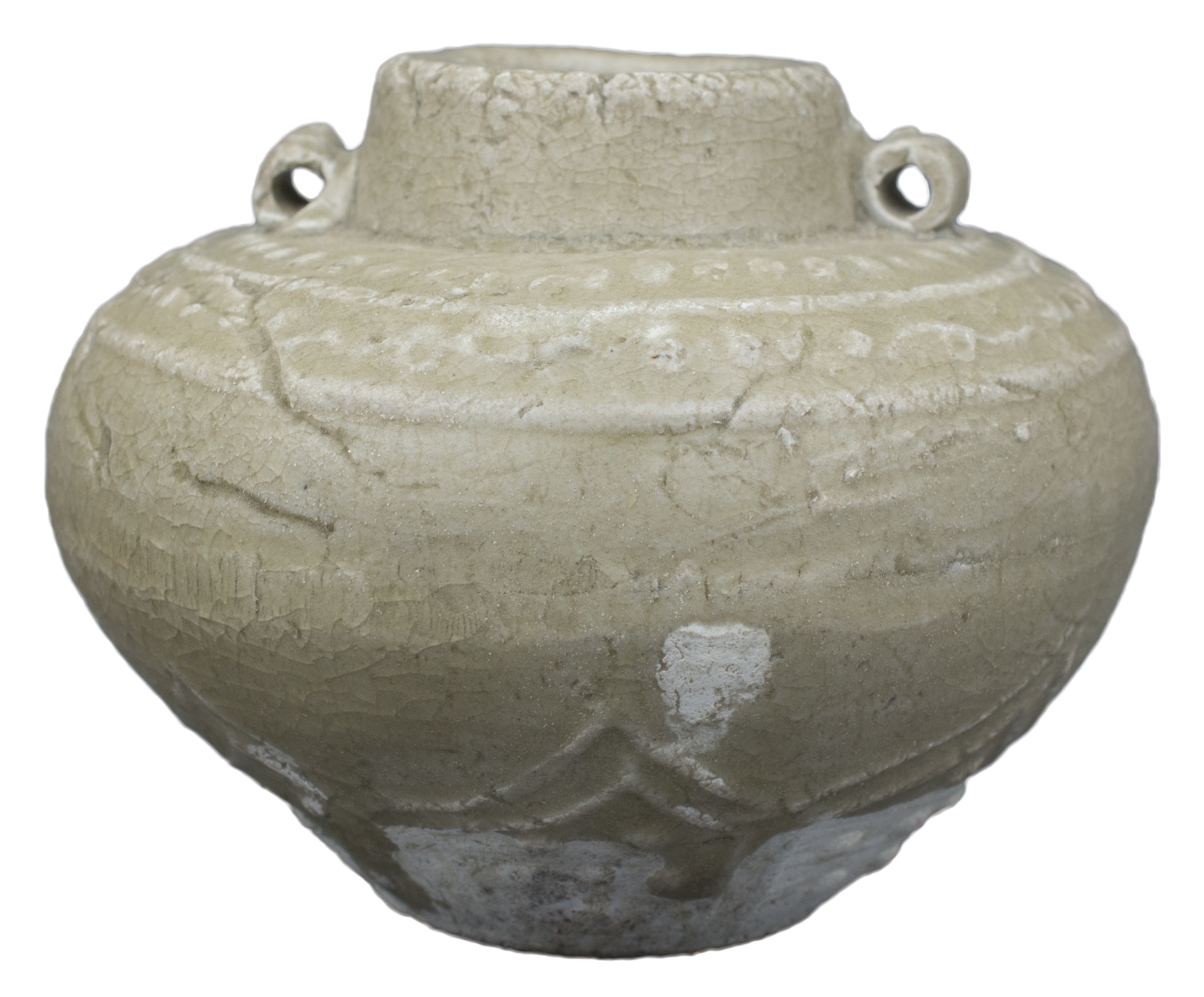 Lot 18 - A Chinese Song / Yuan Dynasty Decorated Longquan Celadon Jar