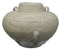 A Chinese Song / Yuan Dynasty Decorated Longquan Celadon Jar