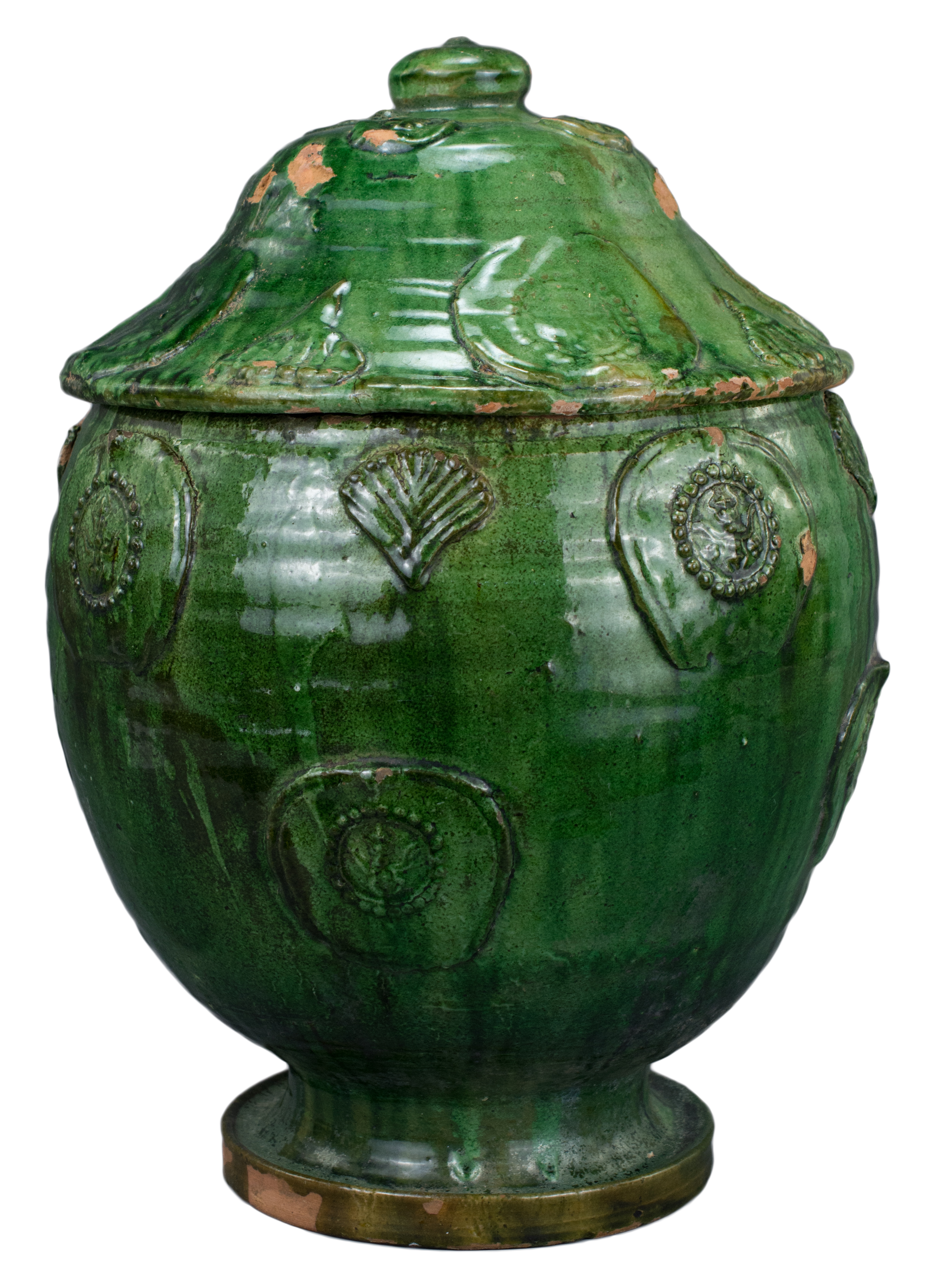 Lot 35 - A Large Chinese Song / Yuan Dynasty Glazed Buddhist Jar