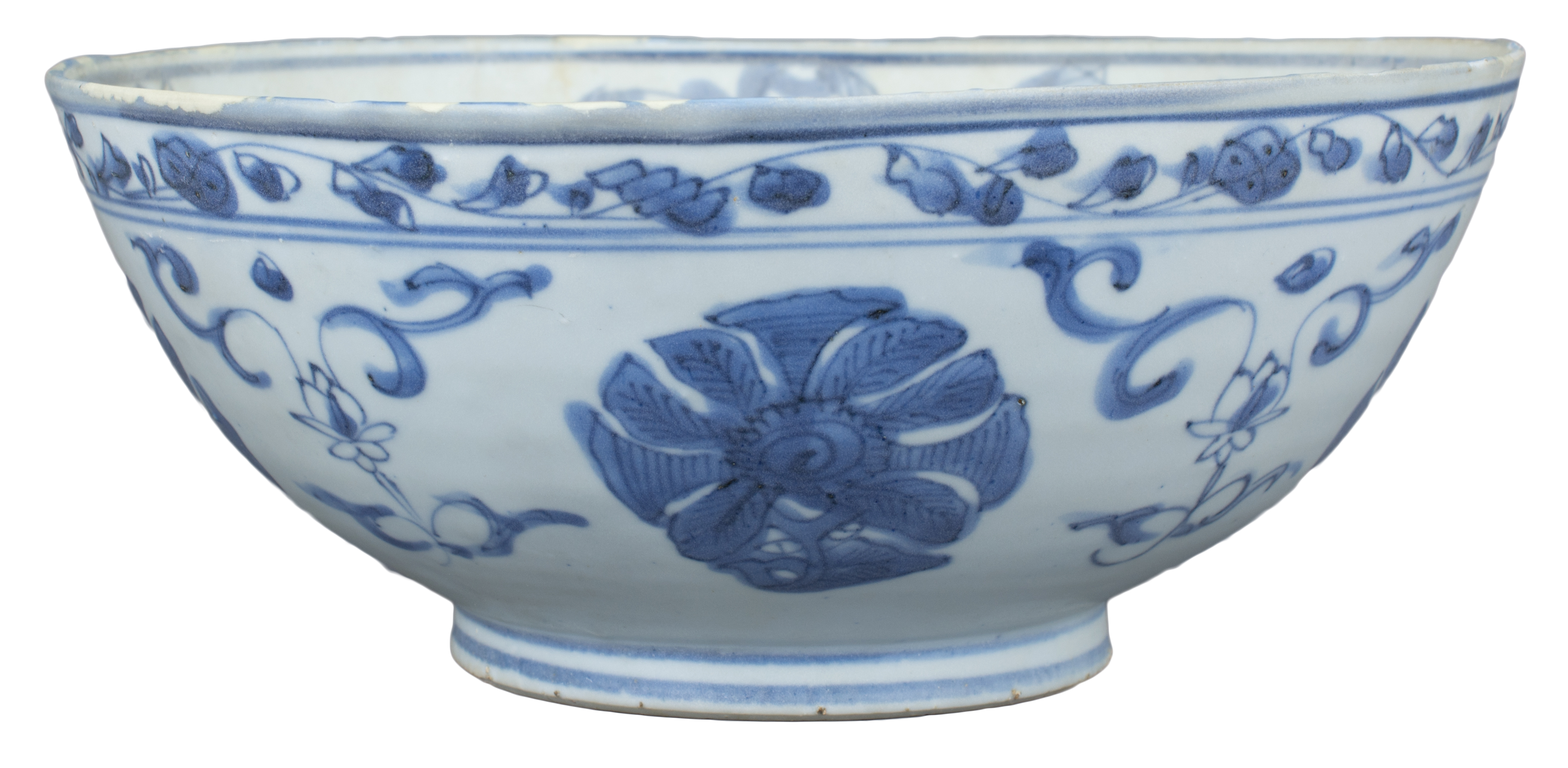 Lot 1 - Large Chinese Ming Dynasty Blue & White Porcelain Bowl - Wanli Shipwreck