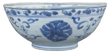 Large Chinese Ming Dynasty Blue & White Porcelain Bowl - Wanli Shipwreck