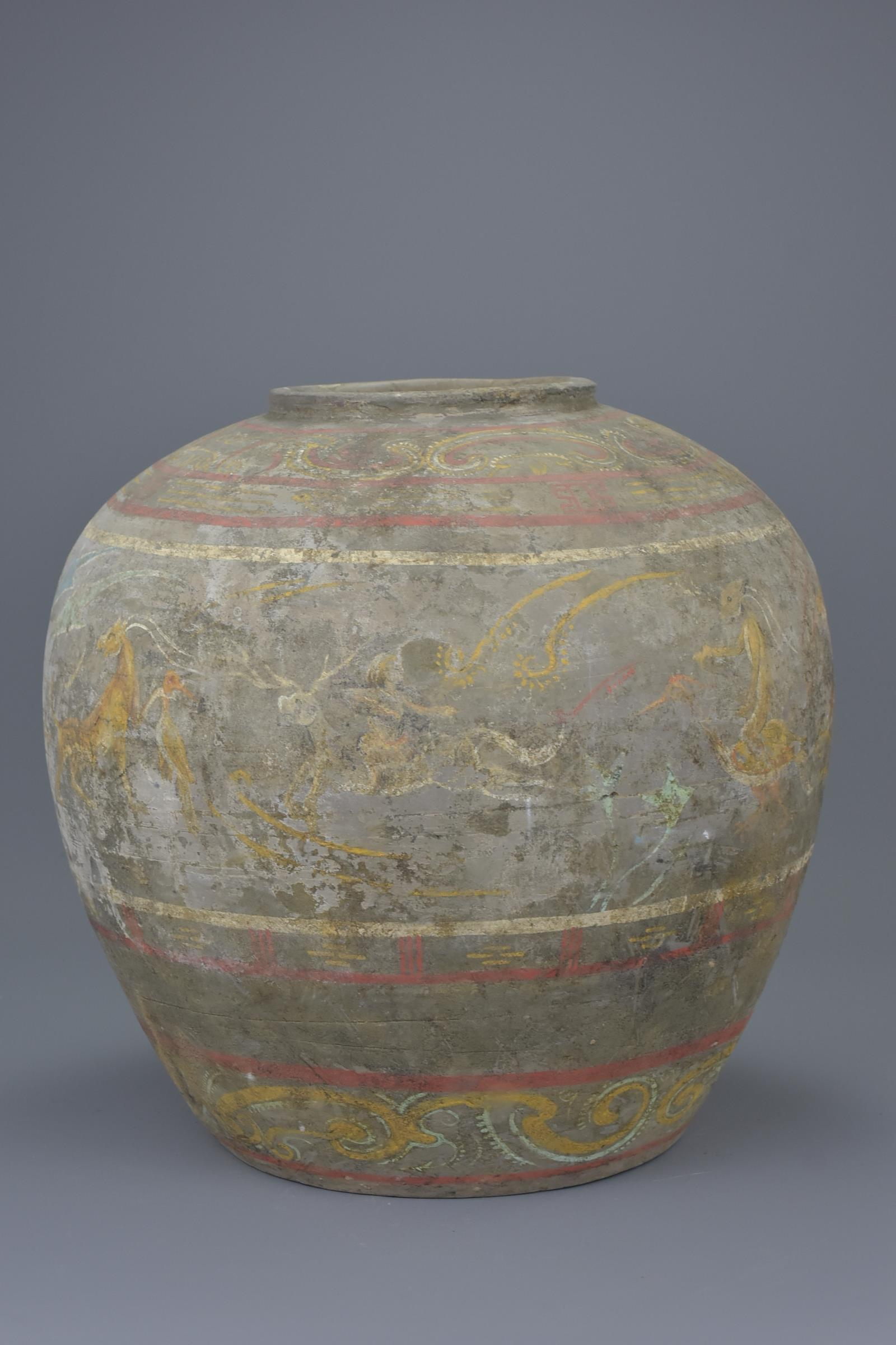 Lot 59 - A Large & Rare Chinese Han Dynasty Painted Pottery Jar with Oxford TL Test