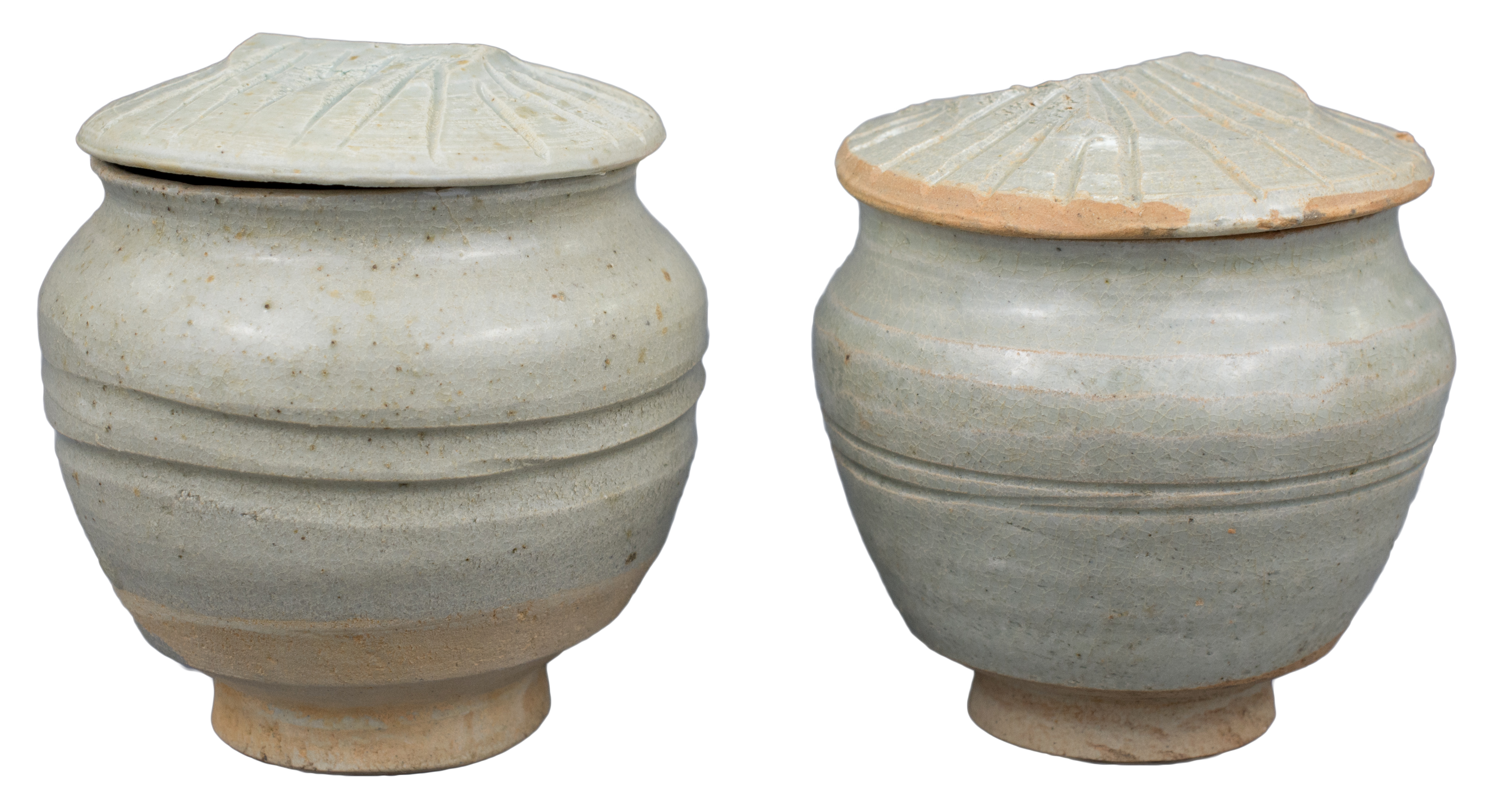 Lot 26 - A Pair of Chinese Yuan Dynasty Qingbai Porcelain Covered Jars