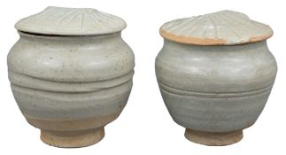 A Pair of Chinese Yuan Dynasty Qingbai Porcelain Covered Jars