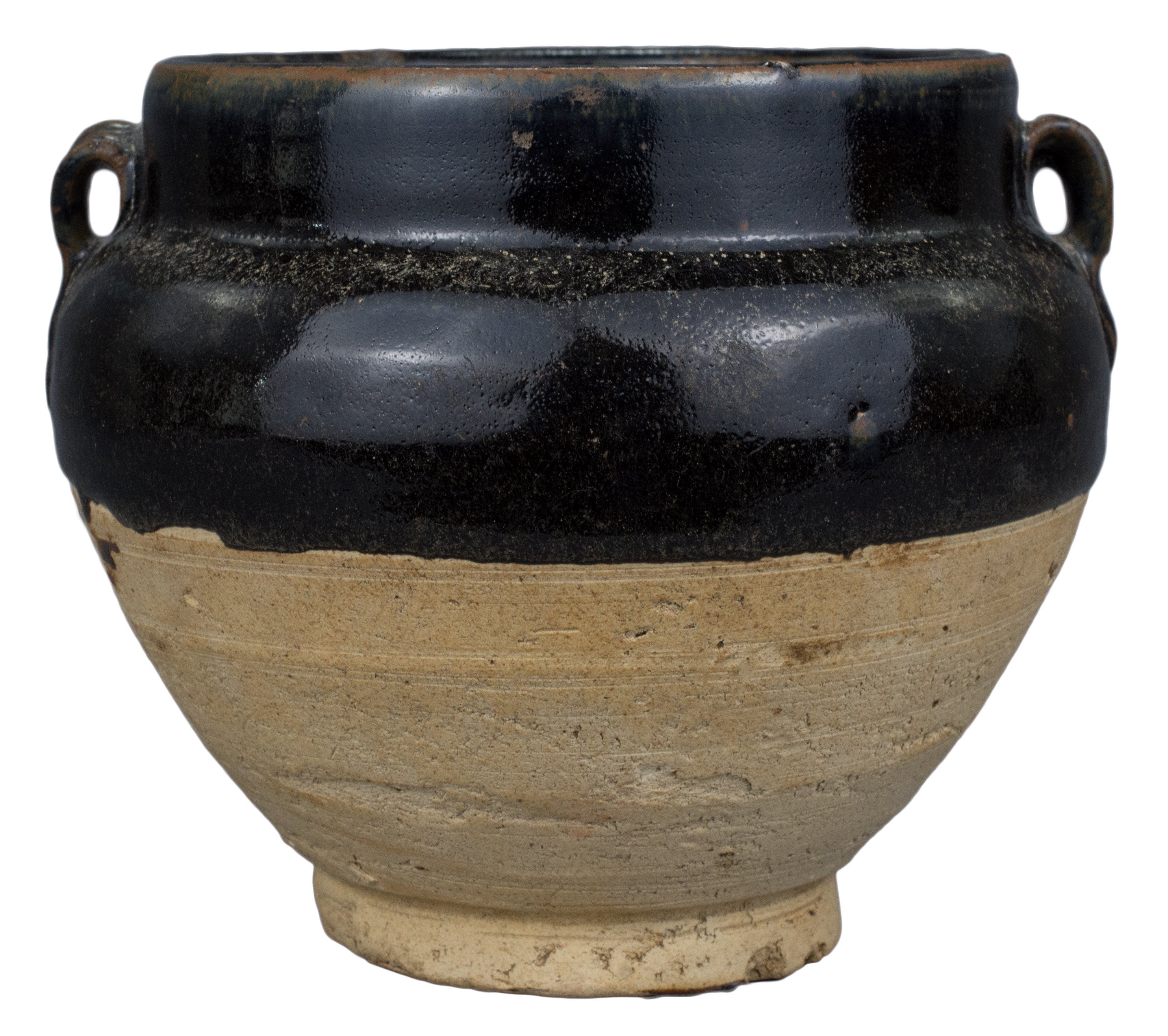 Lot 15 - A Chinese Song / Jin Dynasty Black & Brown Glazed Stoneware Jar