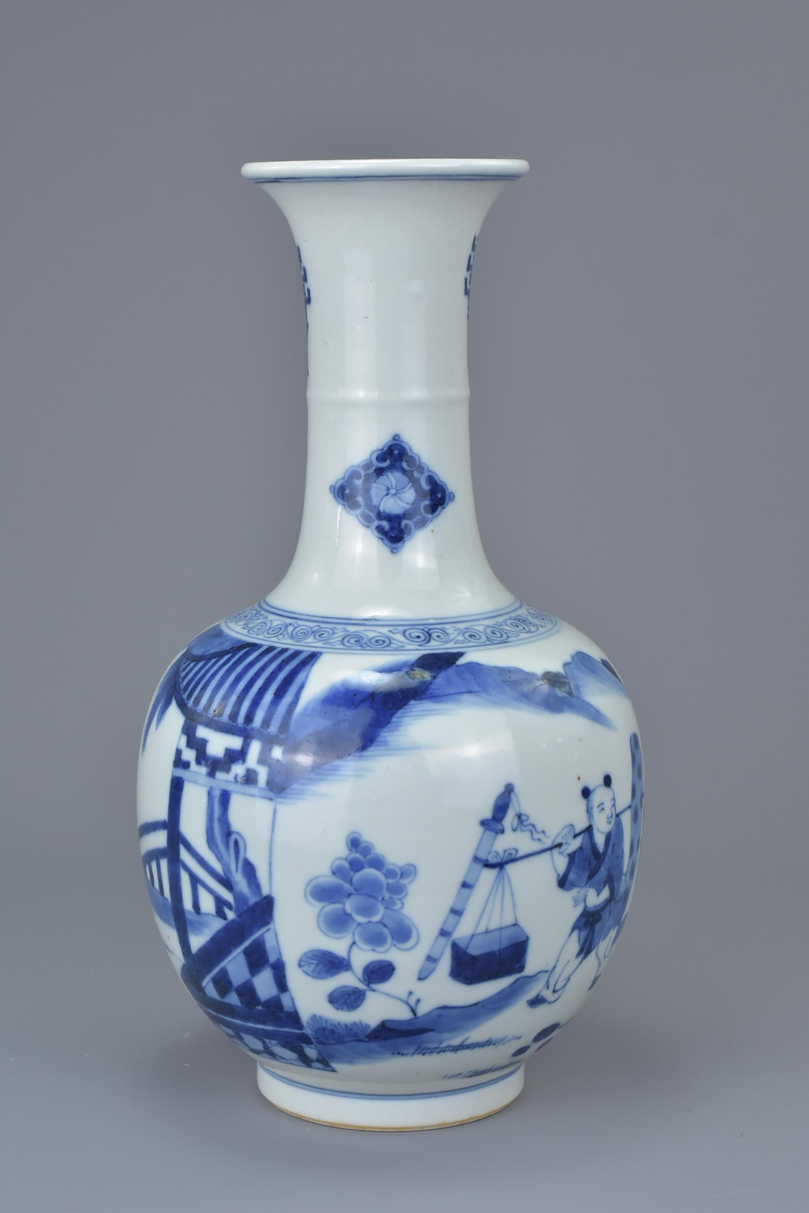 Lot 24 - A Chinese 18/19th C. blue and white porcelain vase