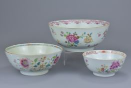 Three Chinese 18th C. Famille rose porcelain bowls
