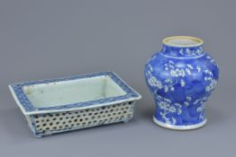 Two Chinese 19th C. blue and white porcelain items to include a planter and porcelain jar