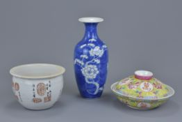 A Chinese 19th C. blue and white porcelain bottle vase